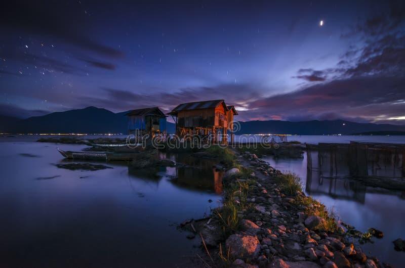Panorama sjö Kerinci på skymningen royaltyfri bild