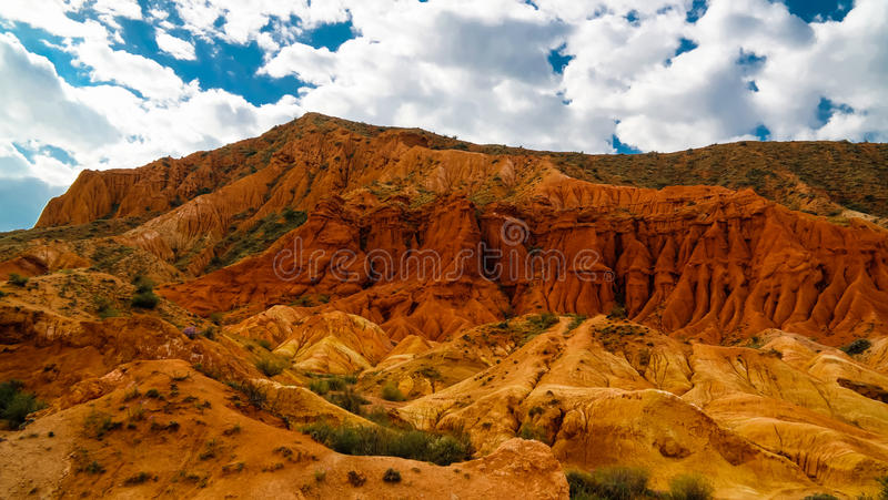 Panorama of Skazka aka Fairytale canyon, Issyk-Kul Kyrgyzstan. Panorama of Skazka aka Fairytale canyon, Issyk-Kul, Kyrgyzstan royalty free stock images