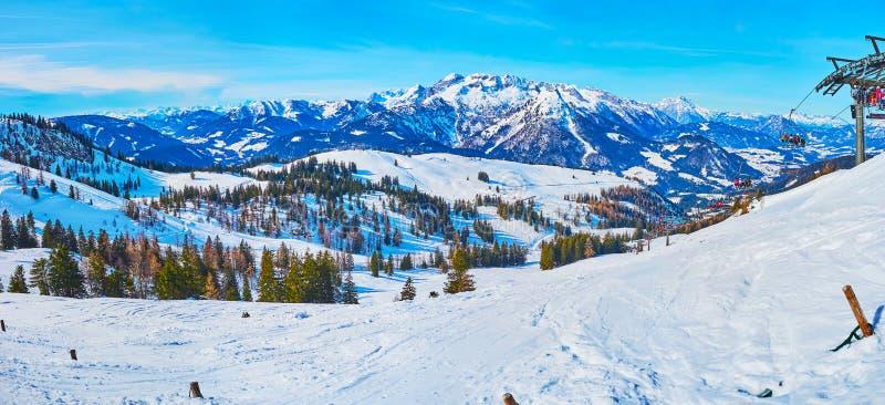 Panorama with ski piste and chairlift, Zwieselalm mountain, Gosau, Austria stock photos