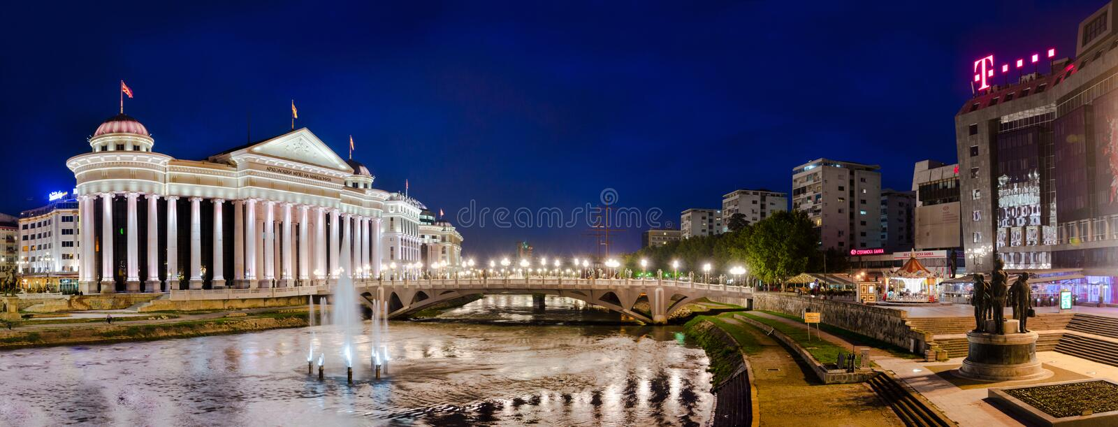 Panorama of Skopje with view of Archeological museum stock photography