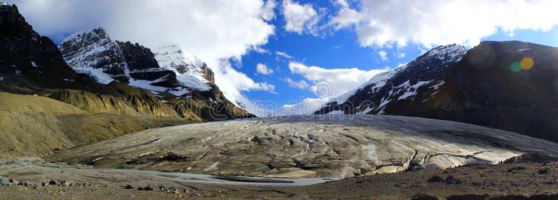 Panorama- skott av härliga Athabasca Icefield i Kanada/Banff och Jasper Nationalpark arkivfoto