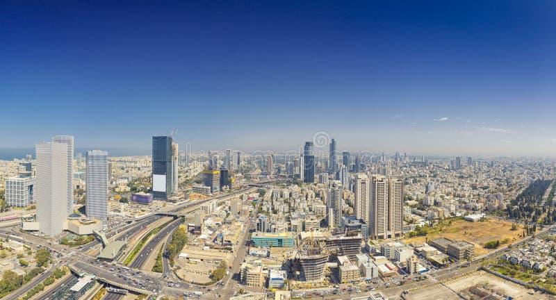 Panorama- skott av telefon Aviv And Ramat Gan Skyline arkivbild