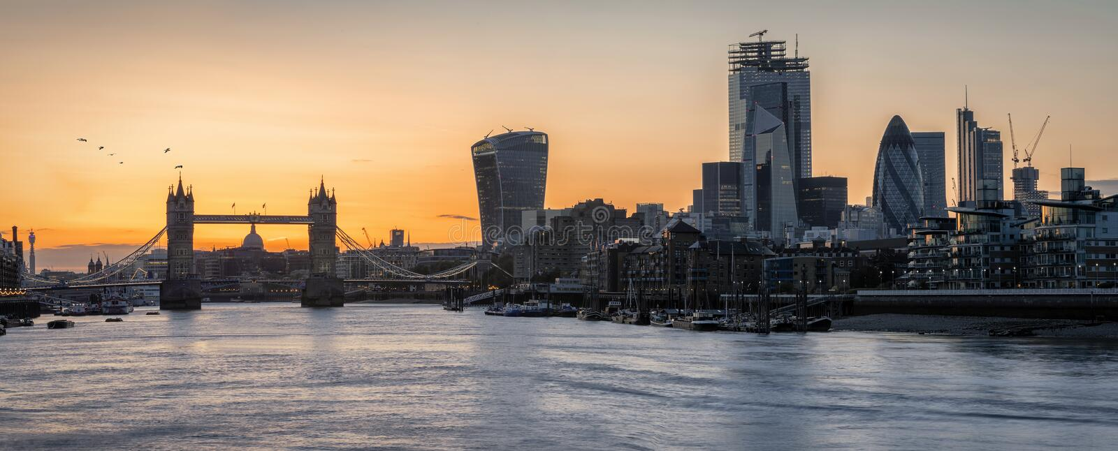 Panorama of the skyline of London during sunset time stock photos