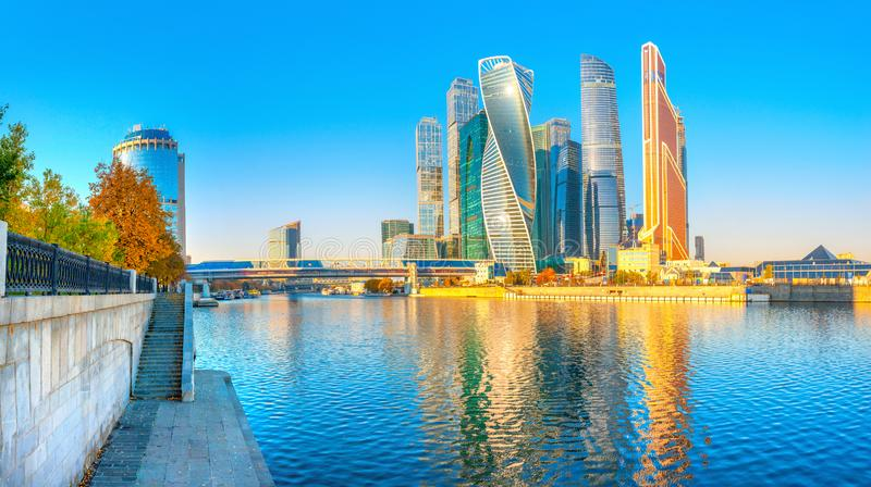 Panorama of the skyscrapers of the business center of Moscow from the embankment of the Moskva River royalty free stock photography