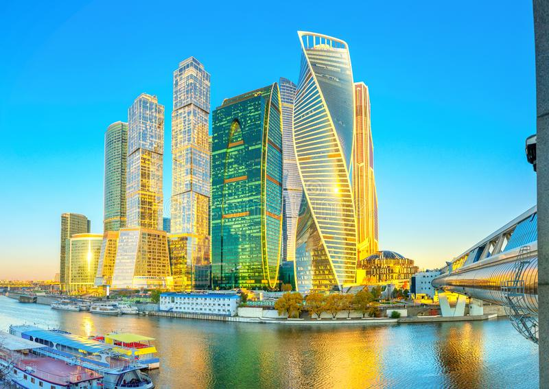 Skyscrapers of the business center of Moscow from the embankment of the Moskva River stock photography