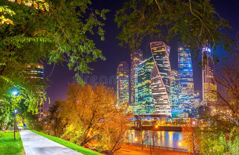 Night panorama of the business center in Moscow royalty free stock images