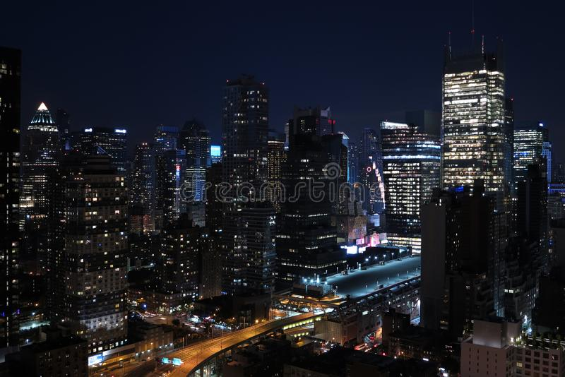 Panorama of skyscrapers of New York City, Manhattan. View of night midtown of Manhattan. Nigt city royalty free stock photos
