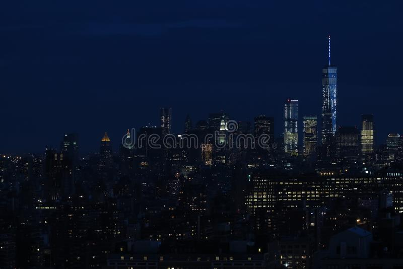 Panorama of skyscrapers of New York City, Manhattan. View of night midtown of Manhattan. Nigt city royalty free stock photography