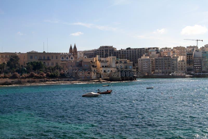 Panorama Sliema/St. Julians, Malta fotografia stock