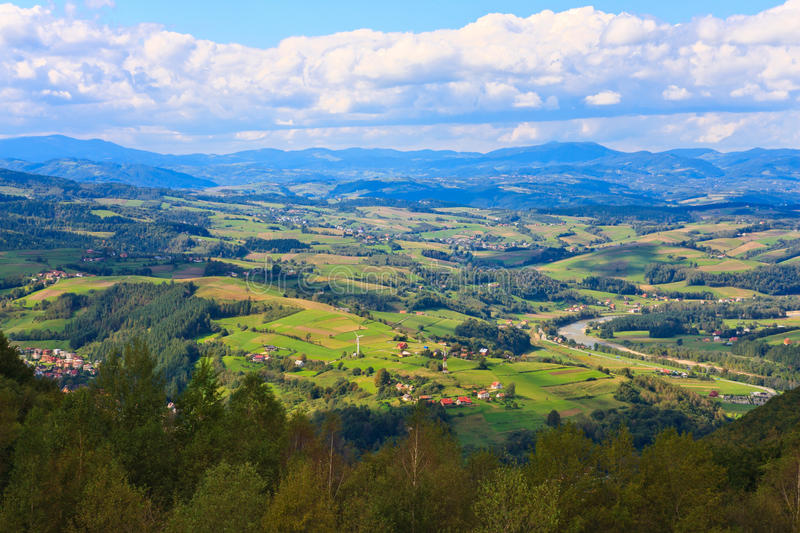 Panorama of small mountain towns. In a valley stock photos