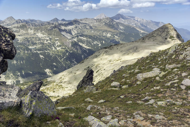 Panorama from small Polezan peak, Pirin Mountain, Bulgaria stock photo