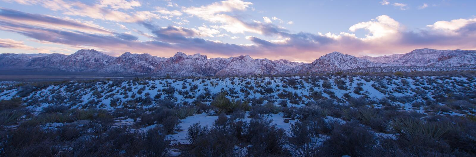 Panorama snow on Red Rock Canyon National Park sunset stock images
