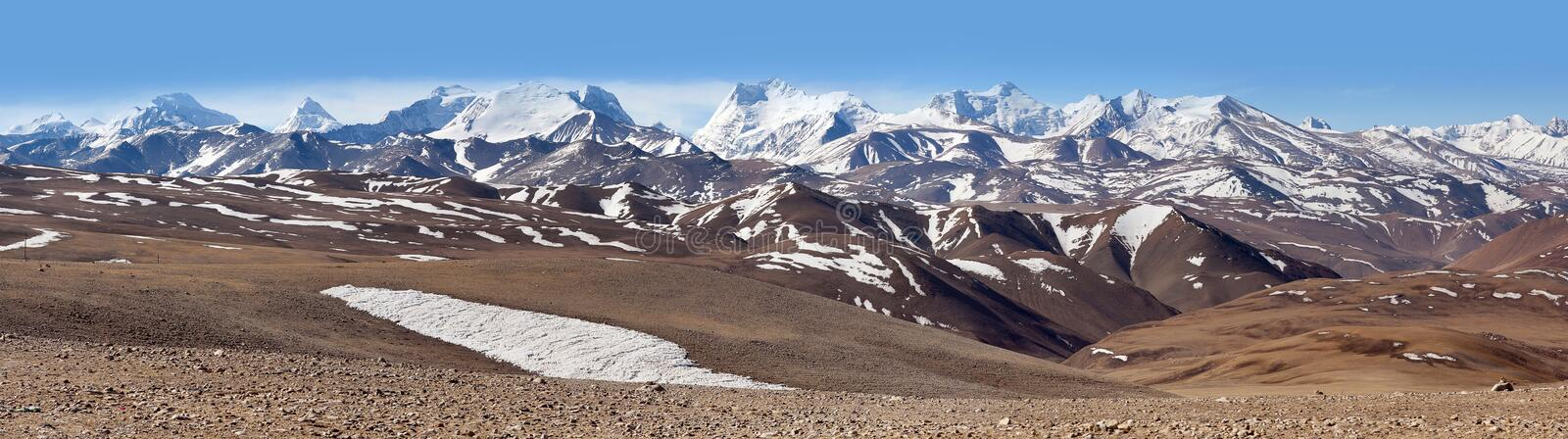 Panorama of snowcapped Himalaya Mountains in Tibet, China. Panorama of snowcapped Himalaya Mountains in Ngari Prefecture, Western Tibet, China stock photo