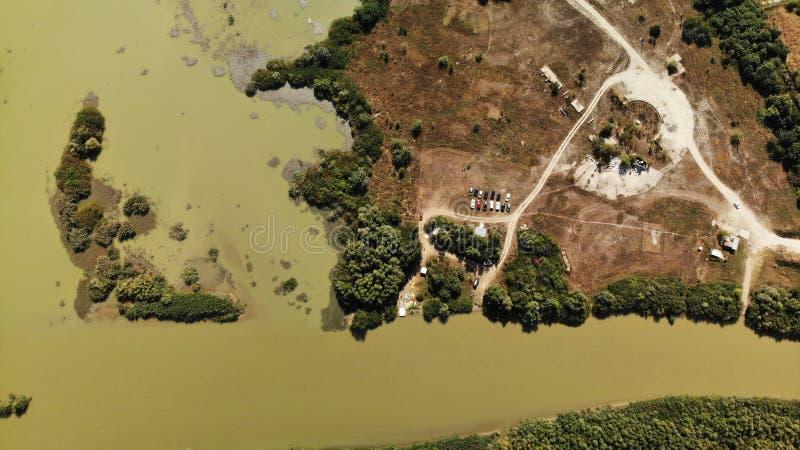 Panorama sobre el río de Arges - kayaking fotografía de archivo libre de regalías