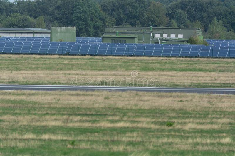 Panorama of the solar system of Weeze Airport royalty free stock images