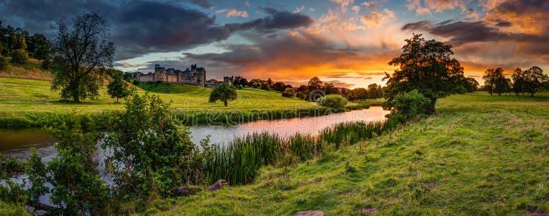 Panorama- solnedgång över floden Aln royaltyfria foton