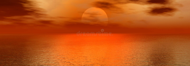 panorama- solnedgång stock illustrationer