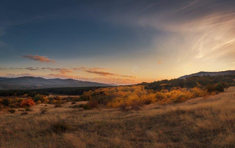 Panorama- solnedgång för höst i berg Orange träd royaltyfri bild
