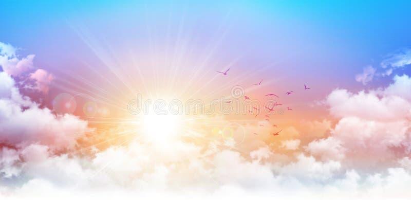 Panorama- soluppgång arkivbild