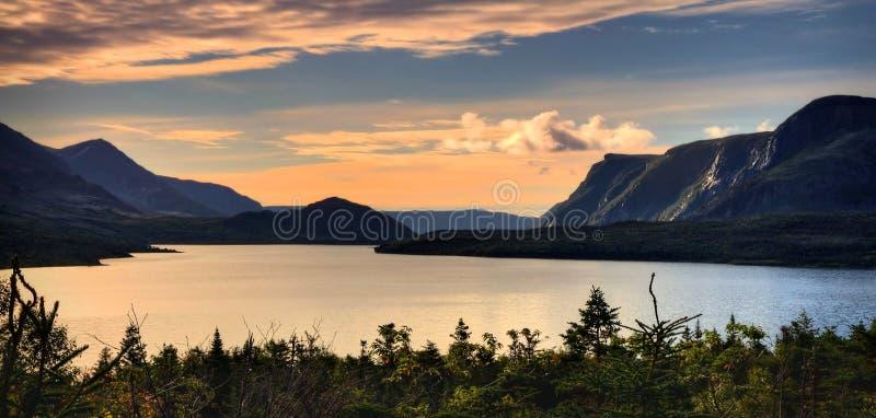Panorama- soluppgång på Gros Morne NP royaltyfri bild