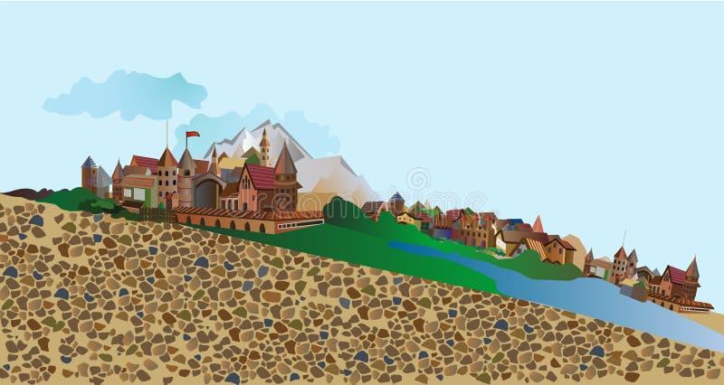 panorama som förbiser den gamla byn med en stenslott och berg stock illustrationer