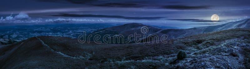 Panorama- sommarlandskap i Carpathians på natten royaltyfria foton