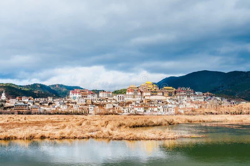 Panorama of Songzanlin Temple in Shangri-La, Yunnan, China royalty free stock photography