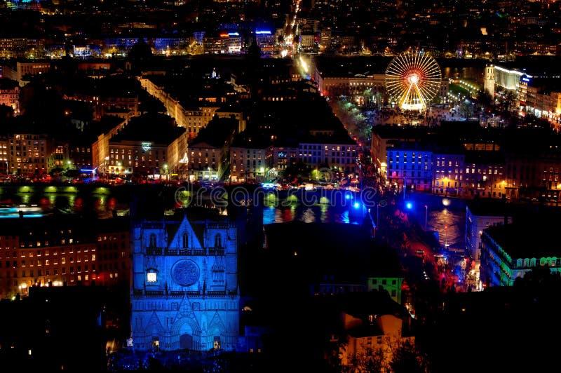 Panorama sopra Lione alla notte immagine stock libera da diritti