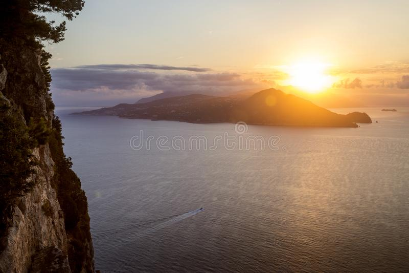 Panorama of Sorrento Peninsula from Capri Island. Italy stock images