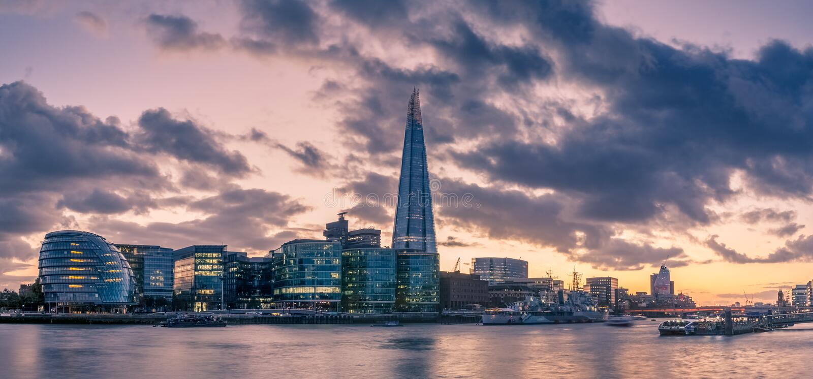 Panorama of the South Bank of the Thames River. Picturesque Panorama of the South Bank of the Thames River at Sunset royalty free stock photography