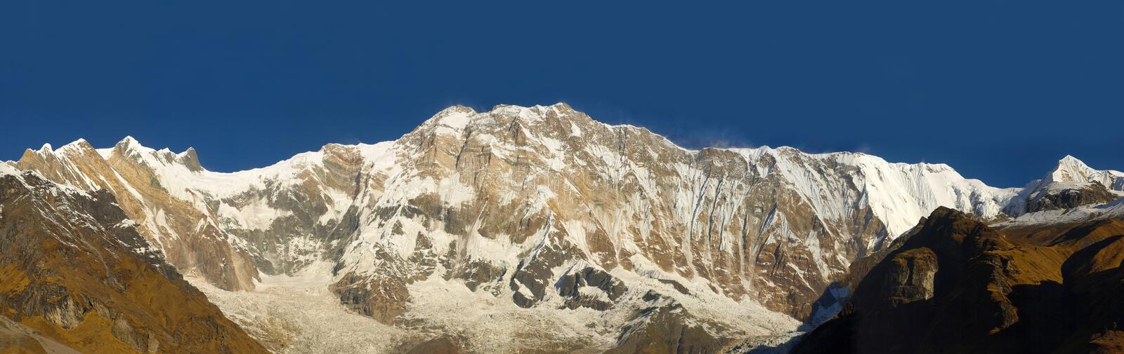 Panorama of the south face of Annapurna I Mountain royalty free stock photos