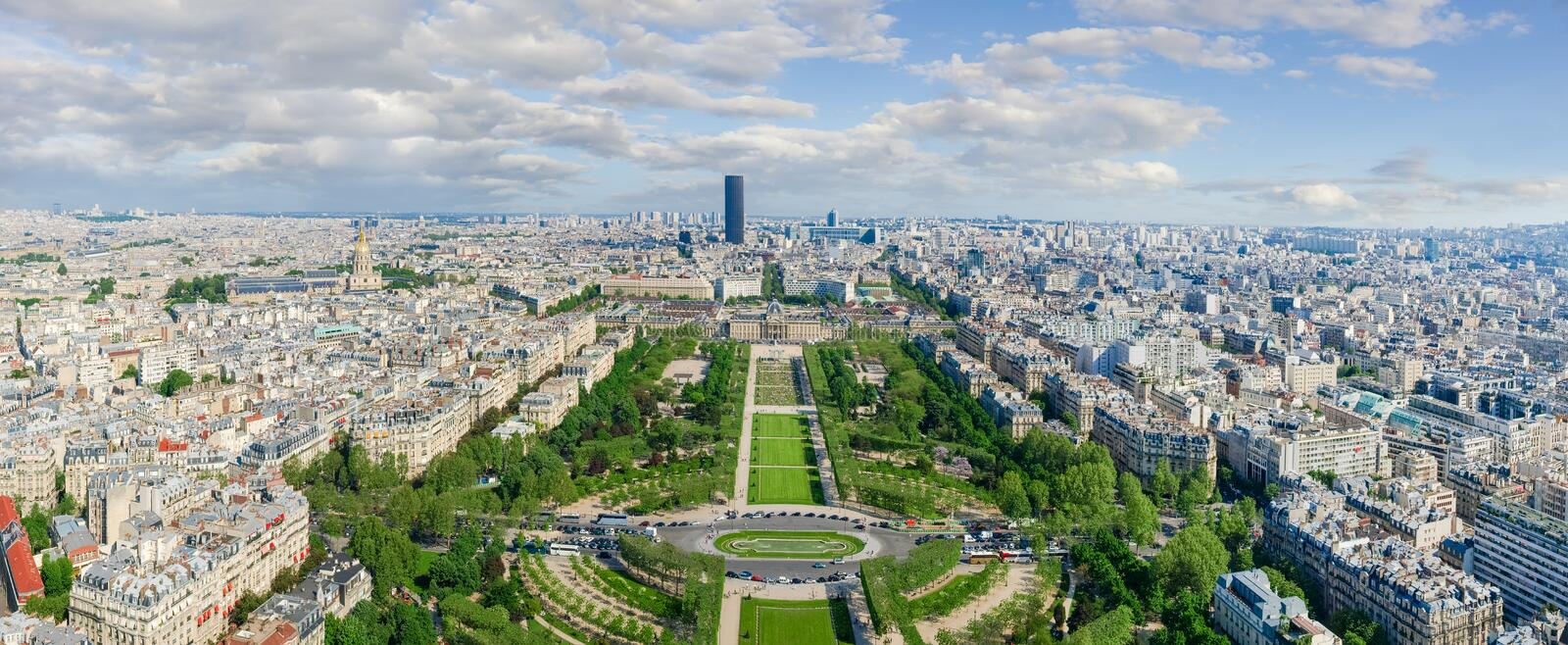 Panorama of southeastern part of Paris from the Eiffel Tower. With Field of Mars on the foreground in spring day stock photos