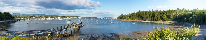 Panorama of the Southwest Harbor. Mount Desert Island, Maine, USA stock photo