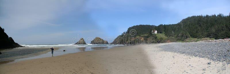 Panorama: Spiaggia di Heceta immagine stock