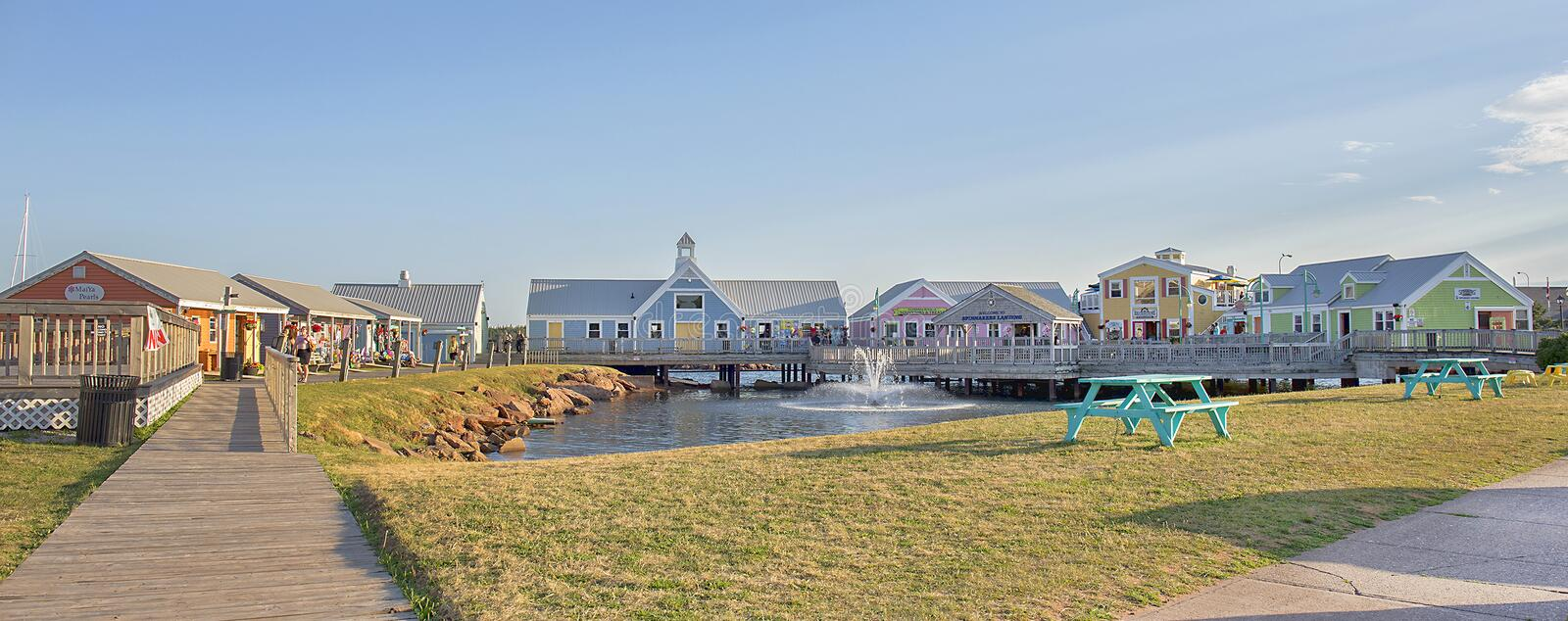 Panorama of Spinnakers Landing in Summerside, PEI. Panorama of Spinnakers Landing in Summerside, Prince Edward Island, Canada With retail shops and restaurants stock photo