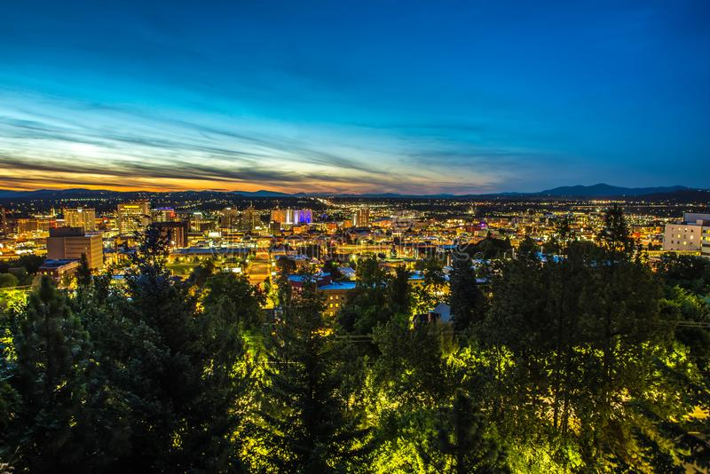 Panorama Spokane Washington Downtown City Skyline royalty-vrije stock fotografie