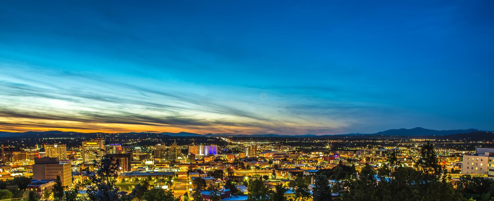 Panorama Spokane Washington Downtown City Skyline royalty-vrije stock foto's