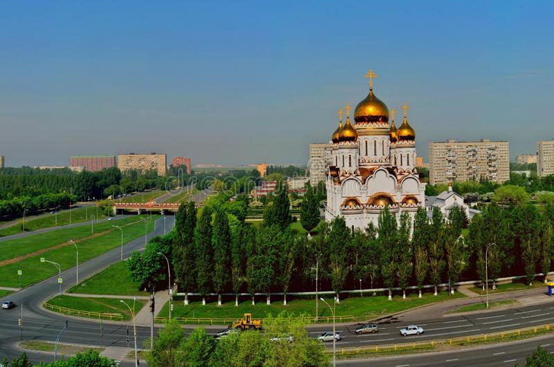 Panorama of the spring city of Togliatti overlooking the Transfiguration Cathedral. Panorama of the spring city of Togliatti overlooking the Transfiguration royalty free stock photography