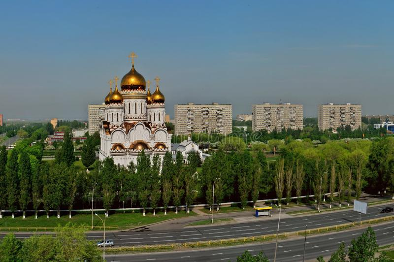 Panorama of the spring city of Togliatti overlooking the Transfiguration Cathedral. Panorama of the spring city of Togliatti overlooking the Transfiguration stock photo