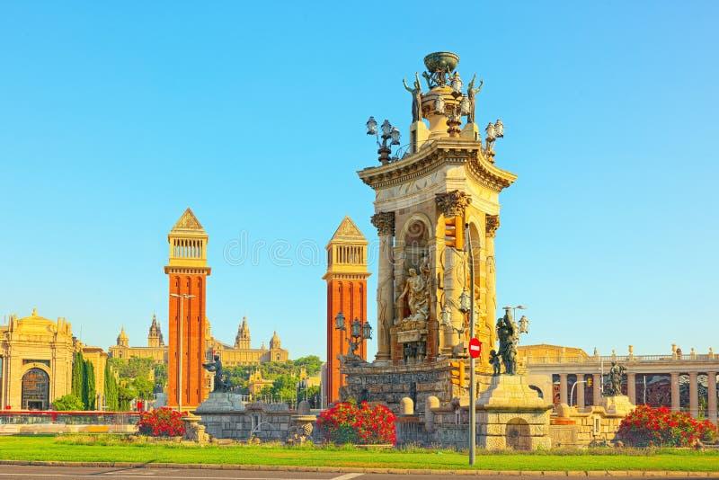 Panorama Square of Spain Placa De Espanya,in Barcelona - capi stock image