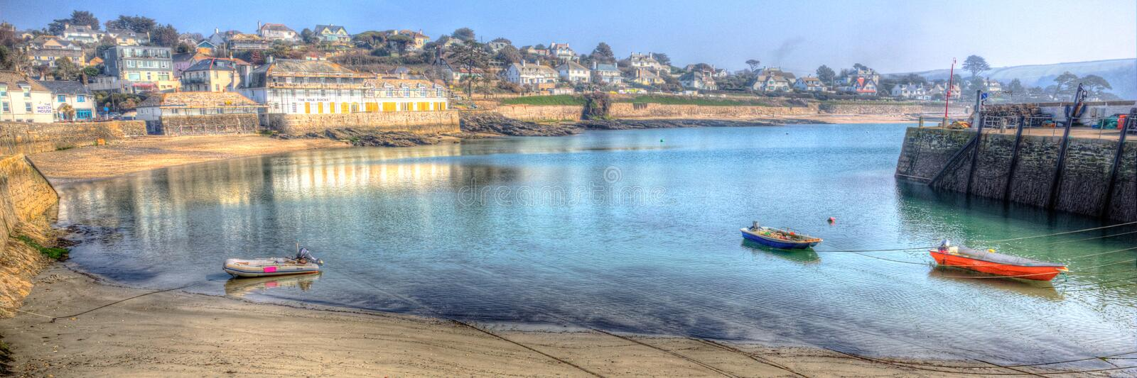 Panorama St Mawes harbour Cornwall Roseland Peninsula Cornish south coast in HDR. Boats in St Mawes harbour Cornwall on the Roseland Peninsula Cornish south royalty free stock image
