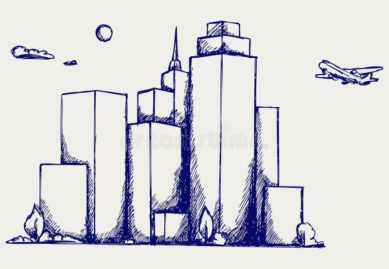 Panorama- stad stock illustrationer
