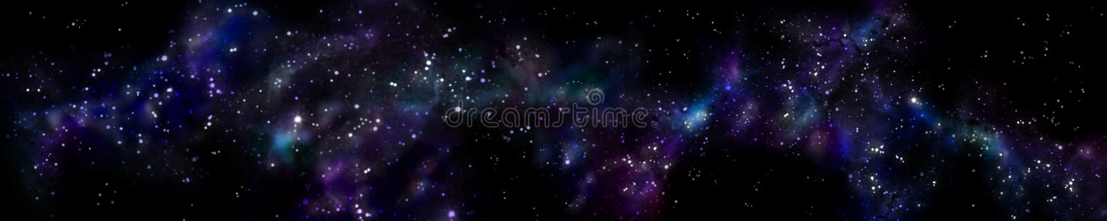 Panorama starry landscape. Panorama of the universe stock image