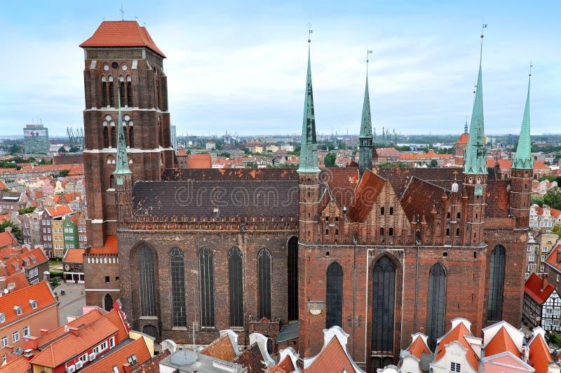 Panorama stary centrum miasta Gdański fotografia royalty free