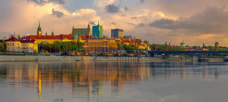 Panorama Stary miasteczko w Warszawa w Poland zdjęcia stock