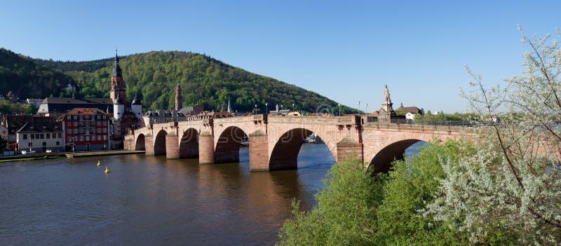 Panorama stary most w Heidelberg, Niemcy zdjęcie royalty free