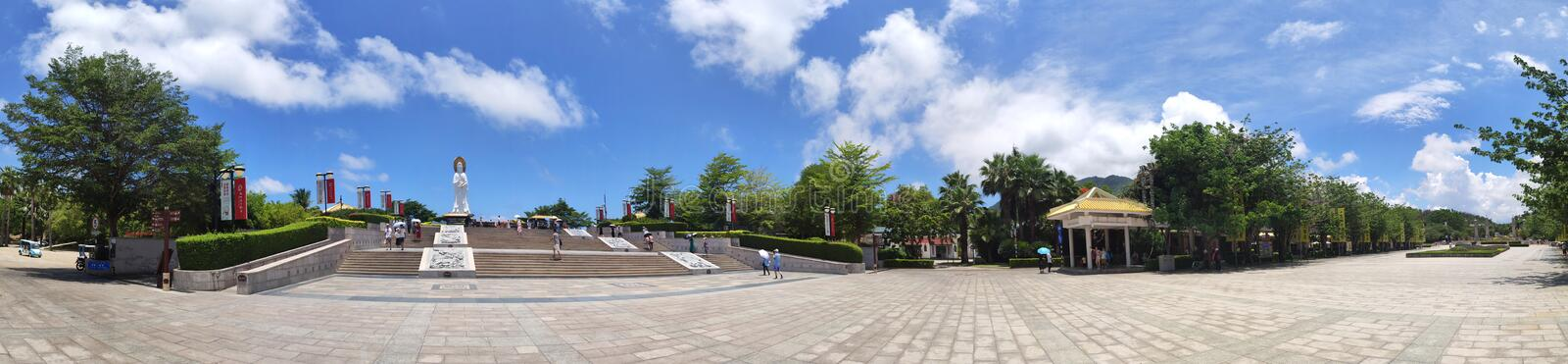 Panorama  statue of the goddess Guanyin of Nanshan Buddhism stock images