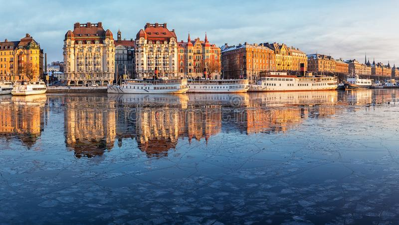 Stockholm city in winter, panoramic image. stock photos