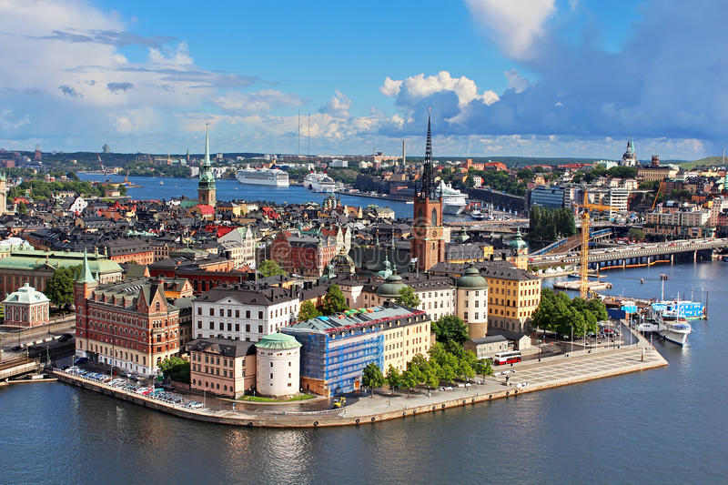Panorama of Stockholm Old City stock photography