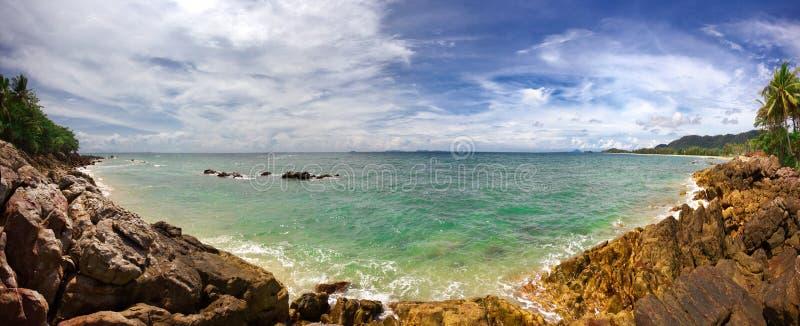 Panorama of stones beach royalty free stock photos